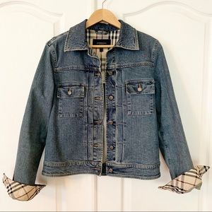 BURBERRY | Nova Check Cuff Denim Jacket Sz 10